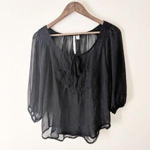LC Lauren Conrad Black Sheer Boho Embroidered Top